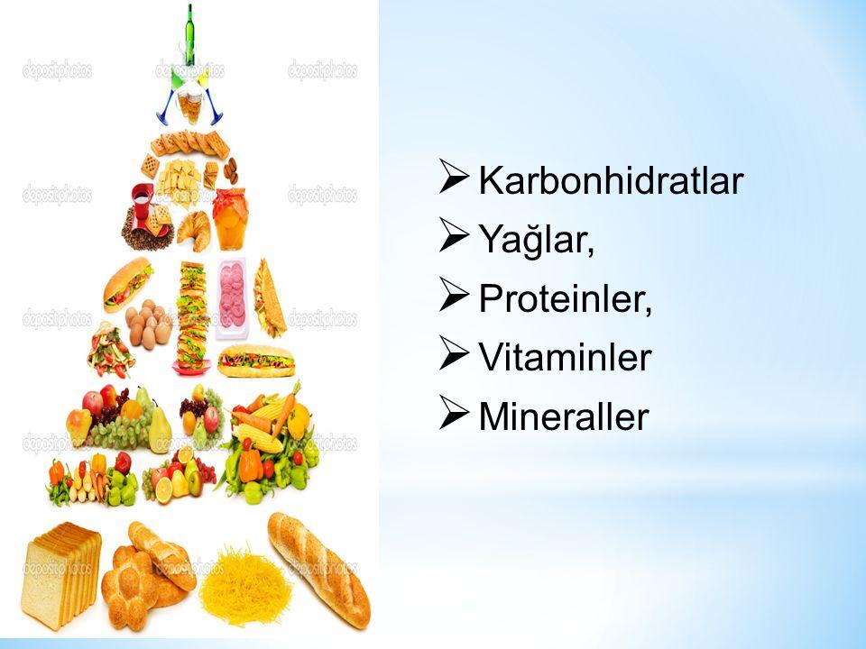  Karbonhidratlar  Yağlar,  Proteinler,  Vitaminler  Mineraller