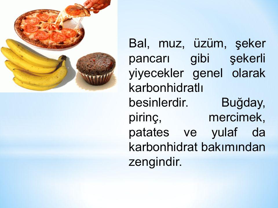 Bal, muz, üzüm, şeker pancarı gibi şekerli yiyecekler genel olarak karbonhidratlı besinlerdir. Buğday, pirinç, mercimek, patates ve yulaf da karbonhid