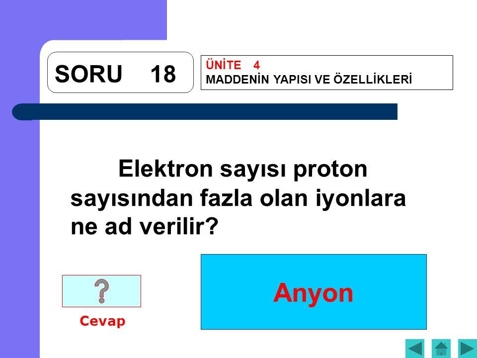 Anyon SORU18 Elektron sayısı proton sayısından fazla olan iyonlara ne ad verilir? Cevap ÜNİTE4 MADDENİN YAPISI VE ÖZELLİKLERİ