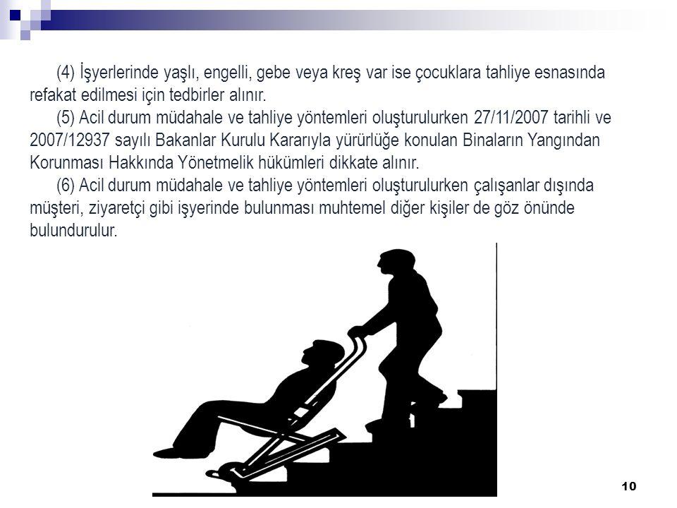 10 (4) İşyerlerinde yaşlı, engelli, gebe veya kreş var ise çocuklara tahliye esnasında refakat edilmesi için tedbirler alınır. (5) Acil durum müdahale