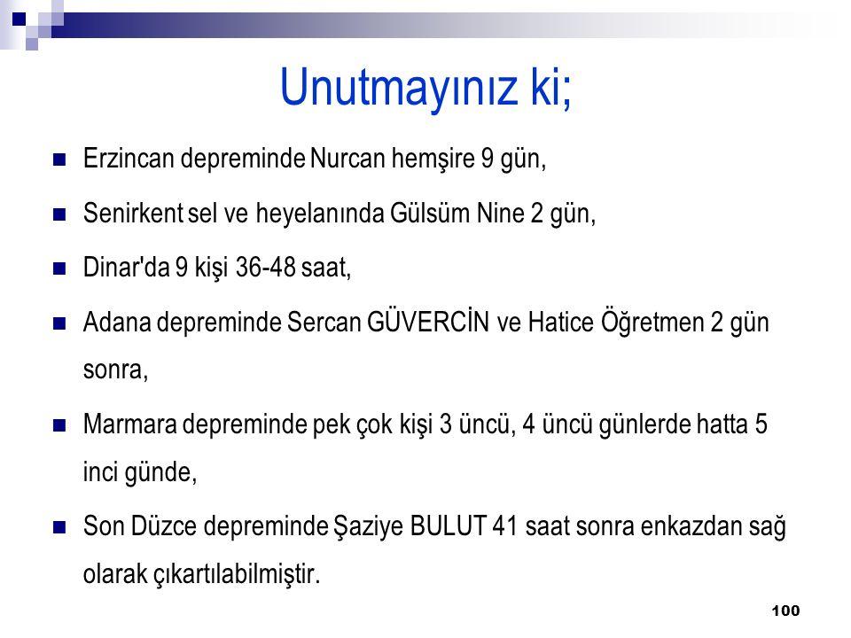 100 Unutmayınız ki; Erzincan depreminde Nurcan hemşire 9 gün, Senirkent sel ve heyelanında Gülsüm Nine 2 gün, Dinar da 9 kişi 36-48 saat, Adana depreminde Sercan GÜVERCİN ve Hatice Öğretmen 2 gün sonra, Marmara depreminde pek çok kişi 3 üncü, 4 üncü günlerde hatta 5 inci günde, Son Düzce depreminde Şaziye BULUT 41 saat sonra enkazdan sağ olarak çıkartılabilmiştir.
