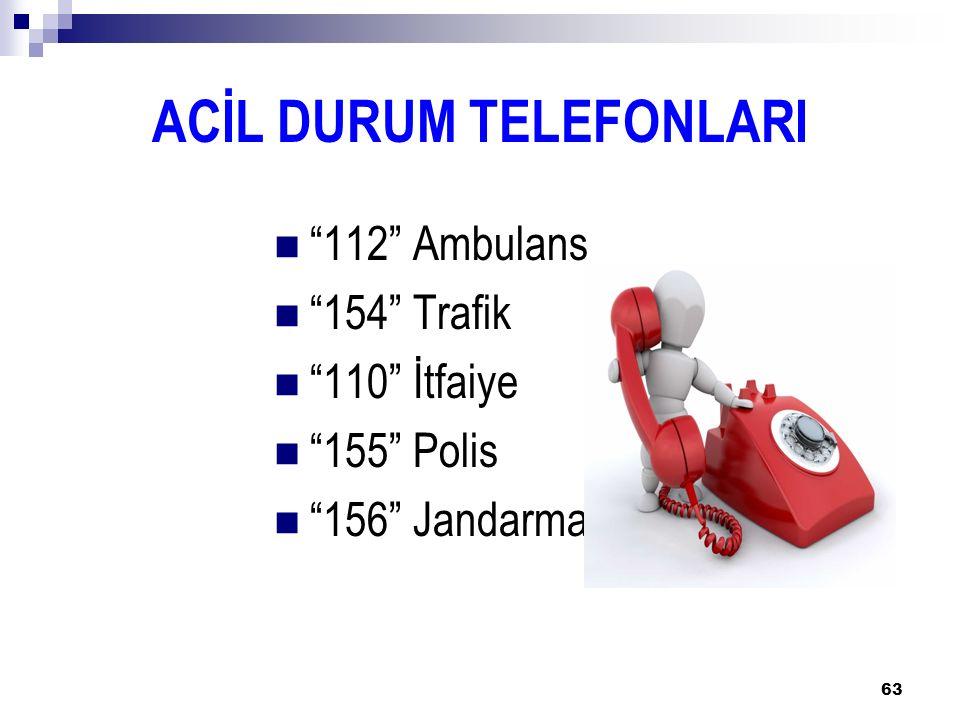 "63 ACİL DURUM TELEFONLARI ""112"" Ambulans ""154"" Trafik ""110"" İtfaiye ""155"" Polis ""156"" Jandarma"
