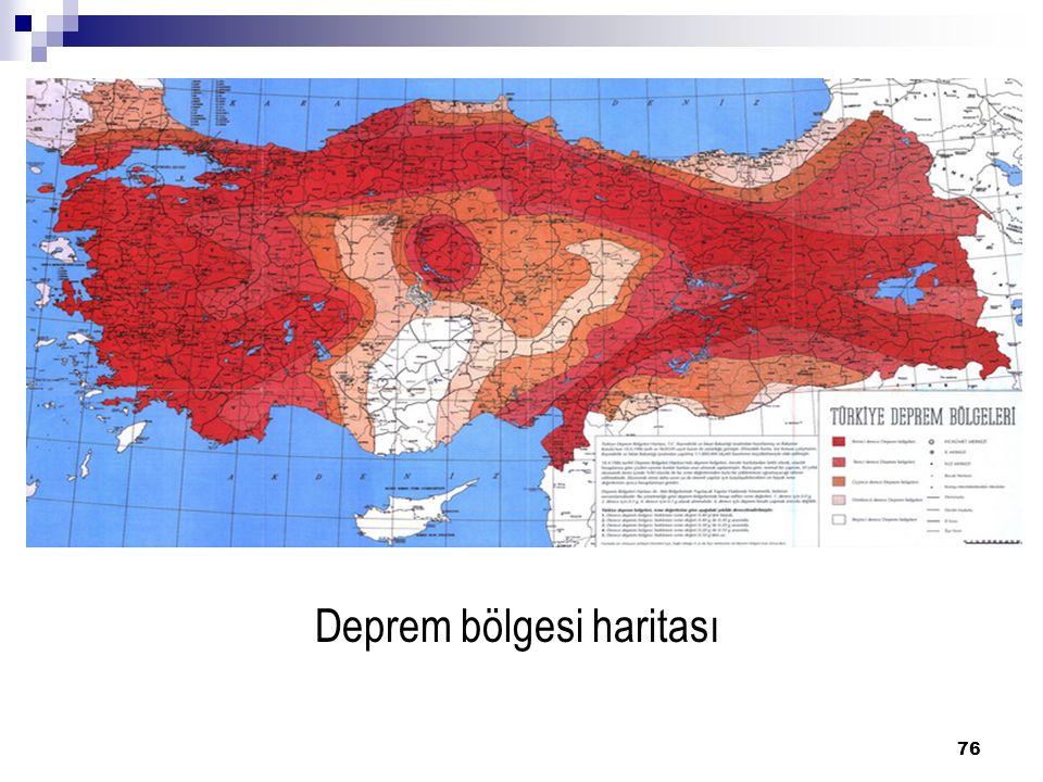 Deprem bölgesi haritası 76