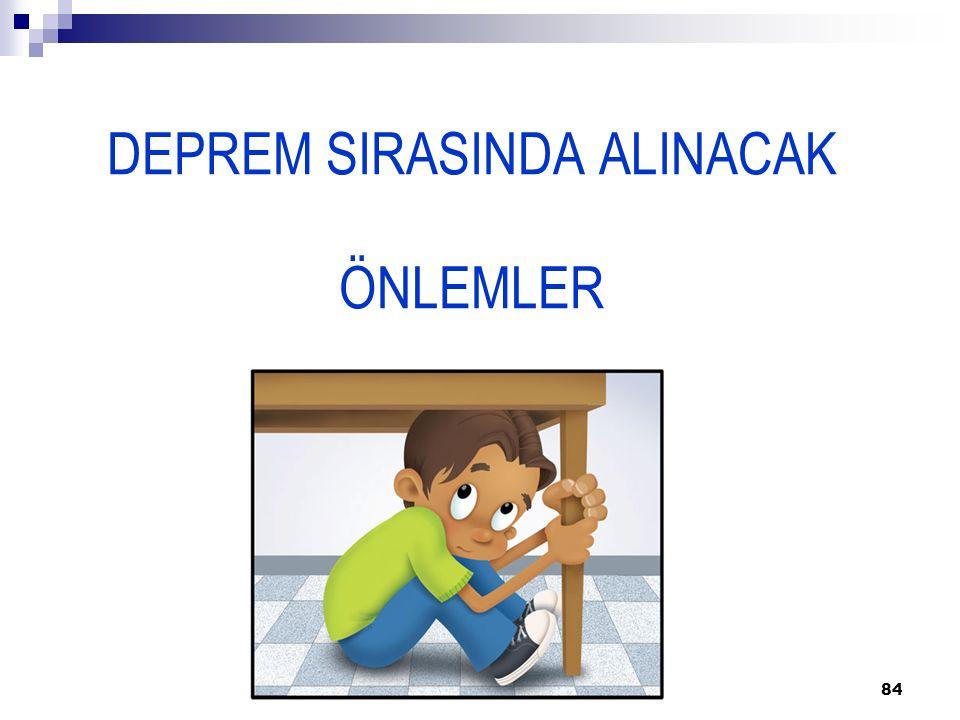 84 DEPREM SIRASINDA ALINACAK ÖNLEMLER
