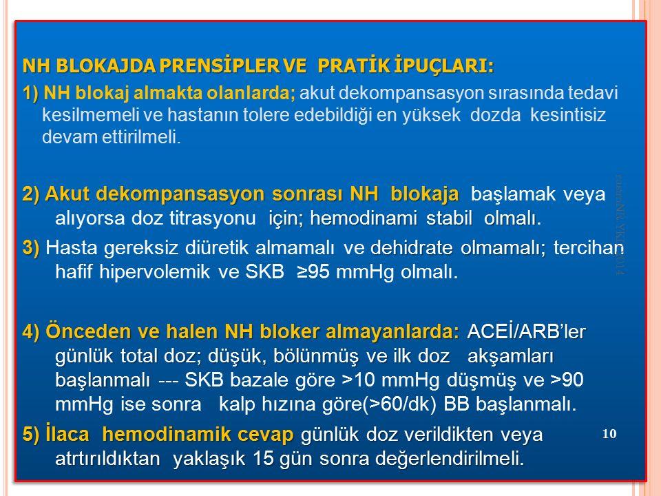 NH BLOKAJDA PRENSİPLER VE PRATİK İPUÇLARI: 1) 1) NH blokaj almakta olanlarda; akut dekompansasyon sırasında tedavi kesilmemeli ve hastanın tolere edebildiği en yüksek dozda kesintisiz devam ettirilmeli.