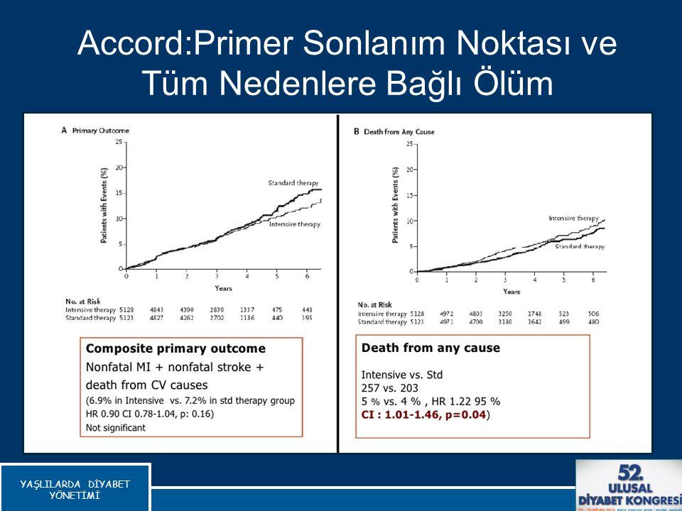 Accord:Primer Sonlanım Noktası ve Tüm Nedenlere Bağlı Ölüm The Action to Control Cardiovascular Risk in Diabetes (ACCORD), New Engl J Med 2008 YAŞLILA