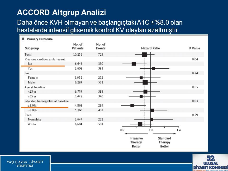 ACCORD Altgrup Analizi Daha önce KVH olmayan ve başlangıçtaki A1C ≤%8.0 olan hastalarda intensif glisemik kontrol KV olayları azaltmıştır. The Action