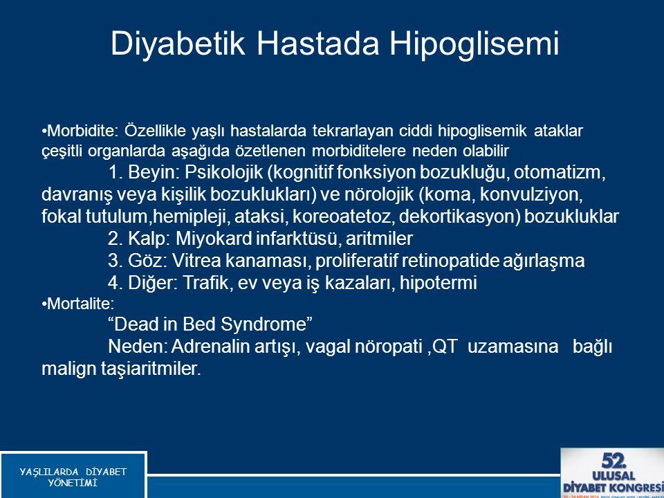 Diyabetik Hastada Hipoglisemi Morbidite: Özellikle yaşlı hastalarda tekrarlayan ciddi hipoglisemik ataklar çeşitli organlarda aşağıda özetlenen morbid