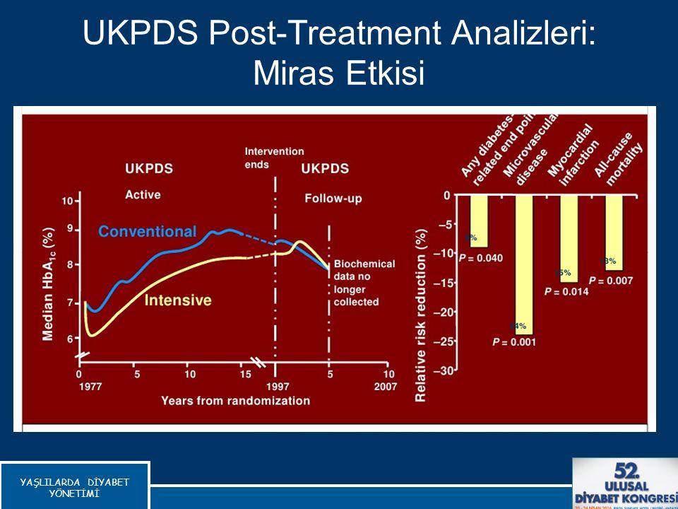 UKPDS Post-Treatment Analizleri: Miras Etkisi Holman RR et al NEJM 2008;359:1577-89 YAŞLILARDA DİYABET YÖNETİMİ