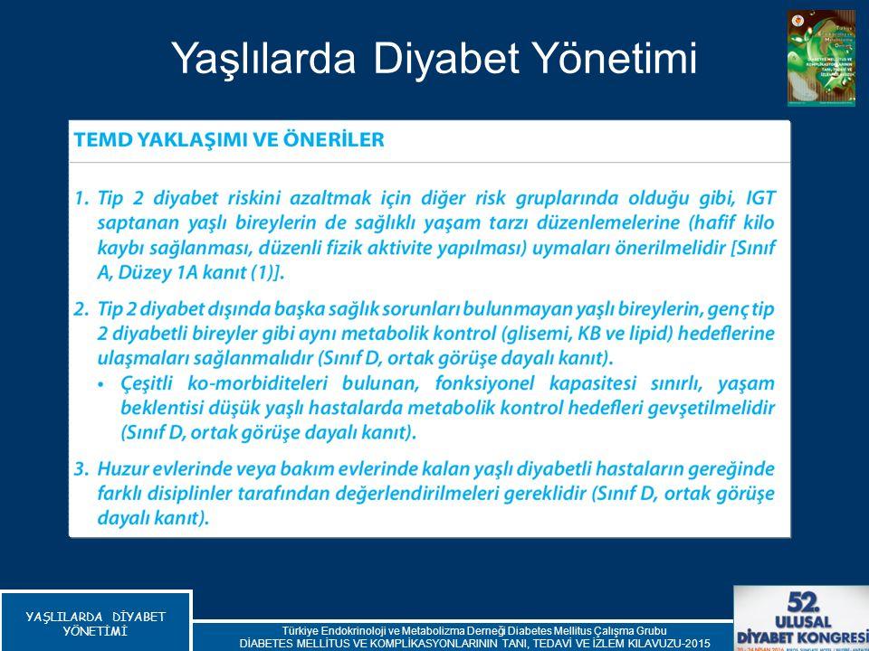 Yaşlılarda Diyabet Yönetimi Türkiye Endokrinoloji ve Metabolizma Derneği Diabetes Mellitus Çalışma Grubu DİABETES MELLİTUS VE KOMPLİKASYONLARININ TANI