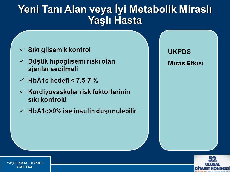 Yeni Tanı Alan veya İyi Metabolik Miraslı Yaşlı Hasta Del Prato S, Int J Clin Pract, 2010 Sıkı glisemik kontrol Düşük hipoglisemi riski olan ajanlar s
