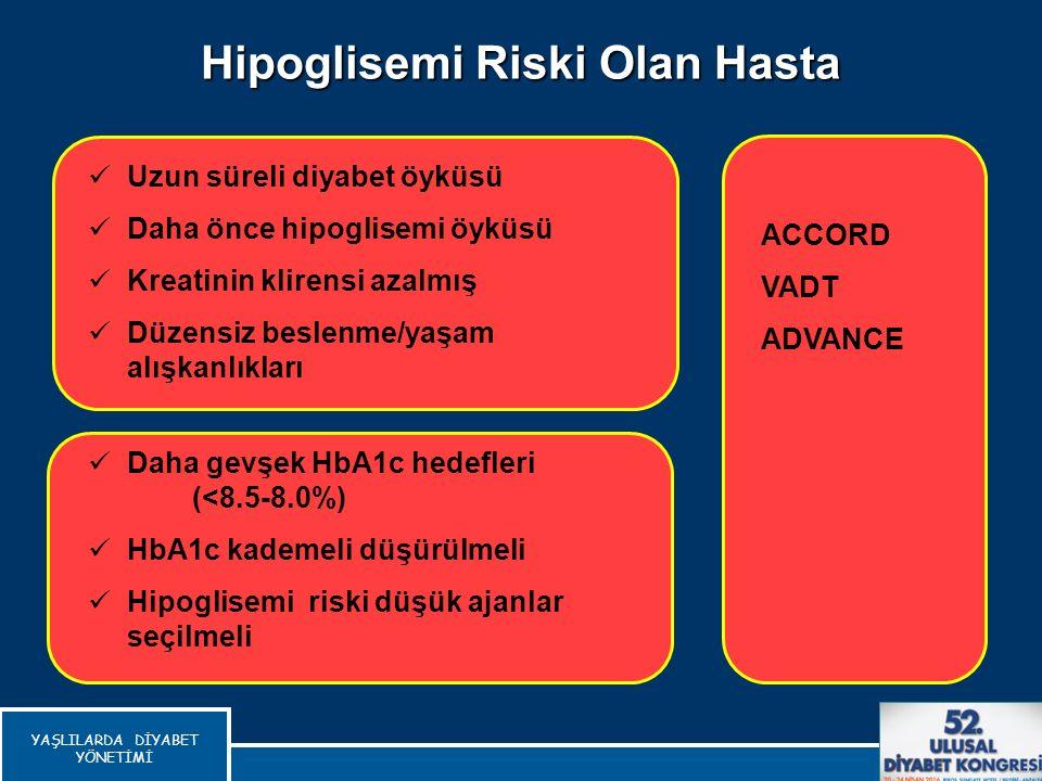 Hipoglisemi Riski Olan Hasta Del Prato S, Int J Clin Pract, 2010 Daha gevşek HbA1c hedefleri (<8.5-8.0%) HbA1c kademeli düşürülmeli Hipoglisemi riski