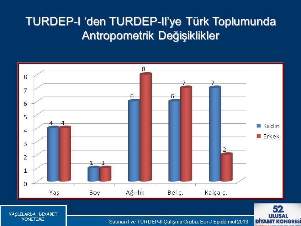YAŞLILARDA DİYABET YÖNETİMİ TURDEP-I 'den TURDEP-II'ye Türk Toplumunda Antropometrik Değişiklikler Satman İ ve TURDEP-II Çalışma Grubu. Eur J Epidemio
