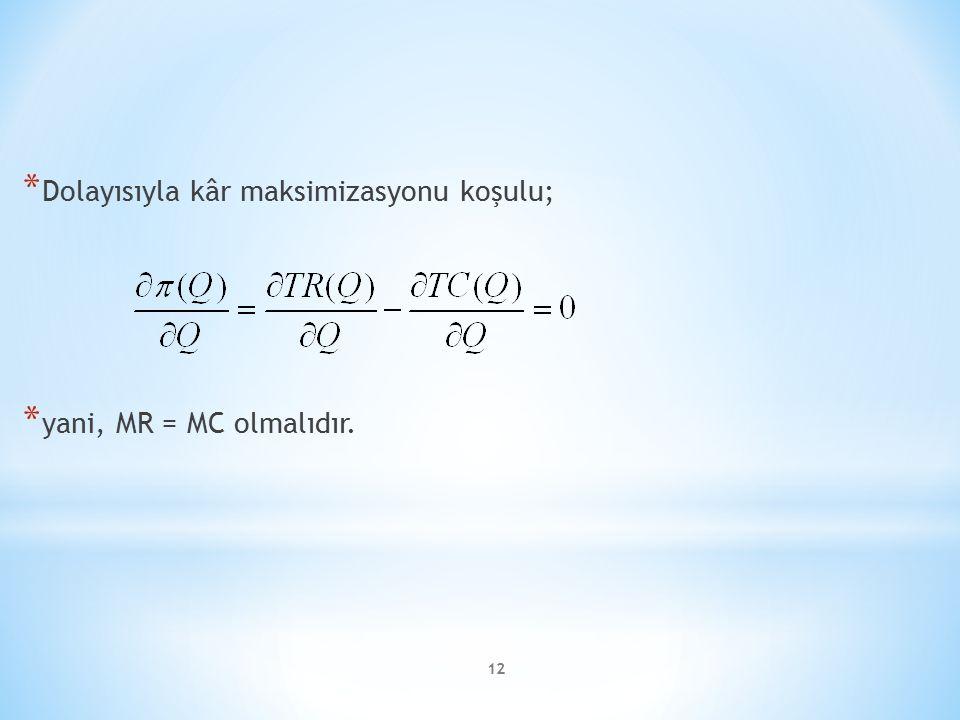 * Dolayısıyla kâr maksimizasyonu koşulu; * yani, MR = MC olmalıdır. 12