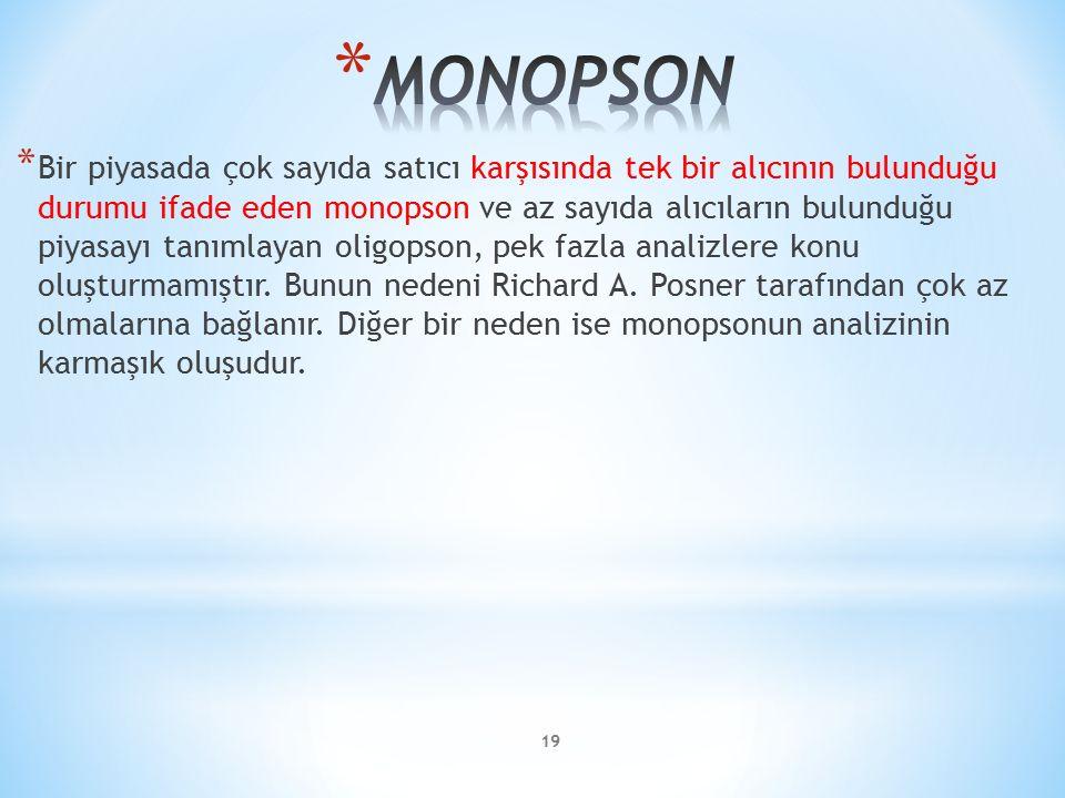 * Bir piyasada çok sayıda satıcı karşısında tek bir alıcının bulunduğu durumu ifade eden monopson ve az sayıda alıcıların bulunduğu piyasayı tanımlaya