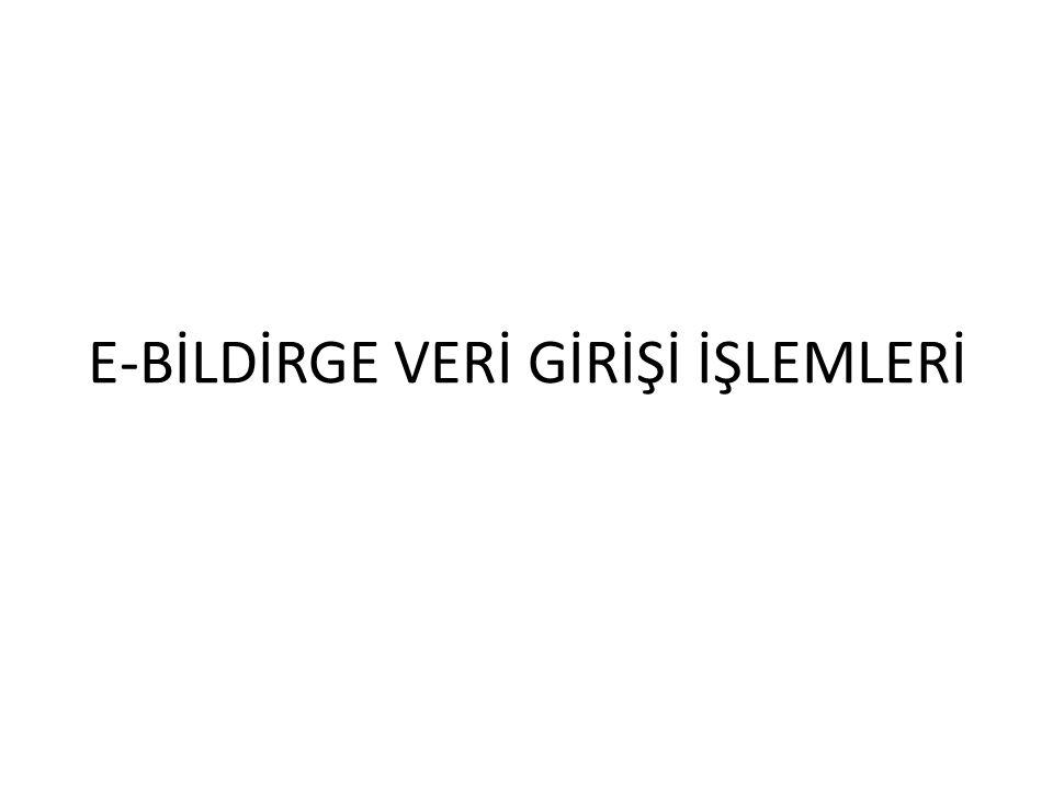 E-BİLDİRGE VERİ GİRİŞİ İŞLEMLERİ