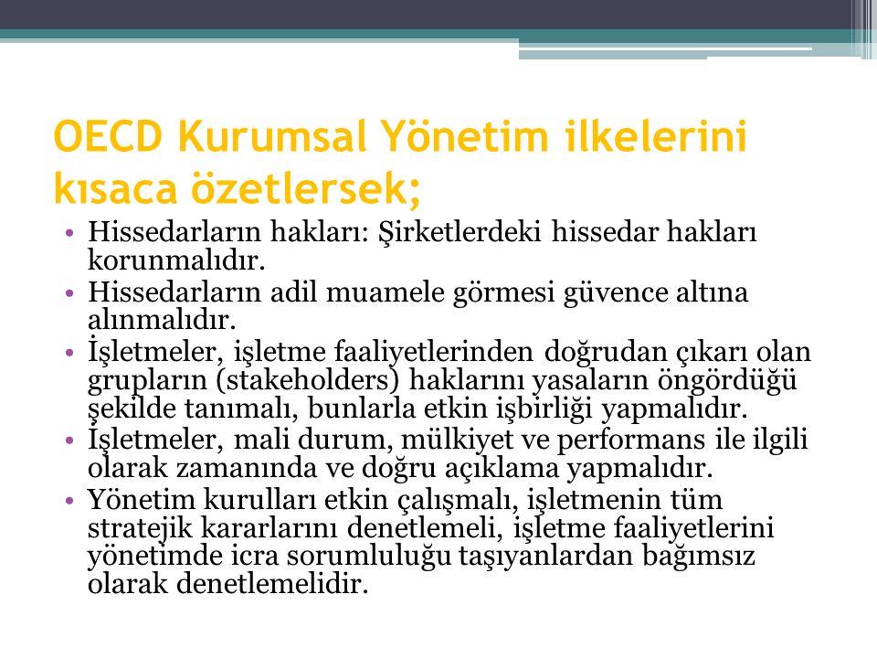 OECD Kurumsal Yönetim ilkelerini kısaca özetlersek; Hissedarların hakları: Şirketlerdeki hissedar hakları korunmalıdır. Hissedarların adil muamele gör
