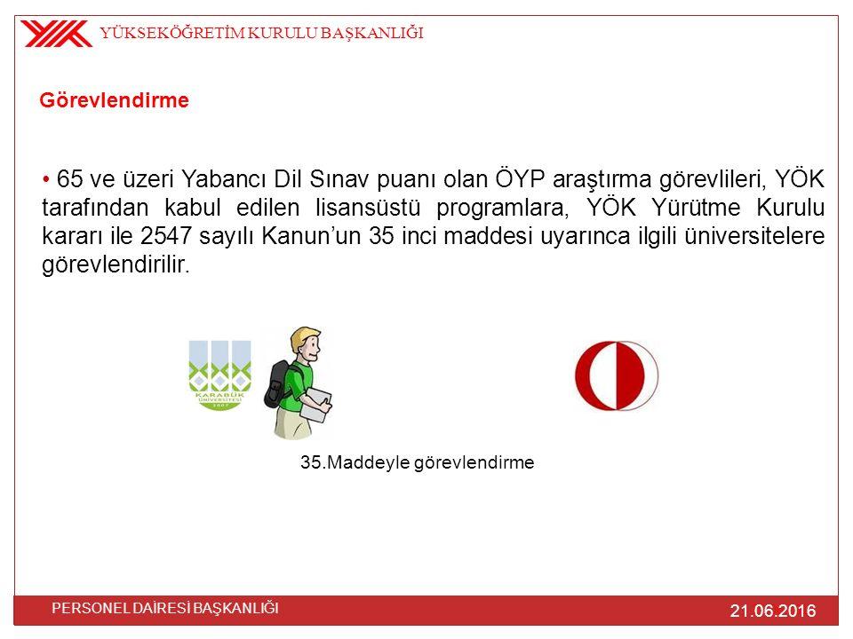 Görevlendirme 65 ve üzeri Yabancı Dil Sınav puanı olan ÖYP araştırma görevlileri, YÖK tarafından kabul edilen lisansüstü programlara, YÖK Yürütme Kuru