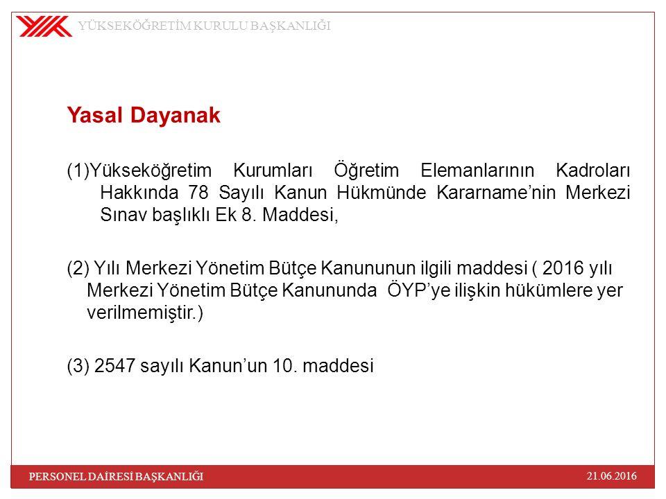 Yasal Dayanak (1)Yükseköğretim Kurumları Öğretim Elemanlarının Kadroları Hakkında 78 Sayılı Kanun Hükmünde Kararname'nin Merkezi Sınav başlıklı Ek 8.