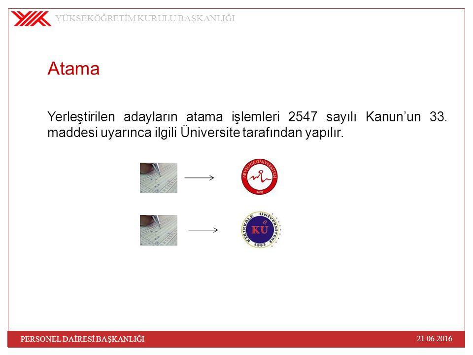 Atama Yerleştirilen adayların atama işlemleri 2547 sayılı Kanun'un 33. maddesi uyarınca ilgili Üniversite tarafından yapılır. YÜKSEKÖĞRETİM KURULU BAŞ