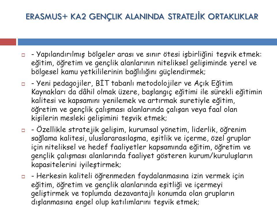 ERASMUS+ KA2 GENÇLIK ALANINDA STRATEJ İ K ORTAKLIKLAR  - Yapılandırılmış bölgeler arası ve sınır ötesi işbirliğini teşvik etmek: eğitim, öğretim ve g
