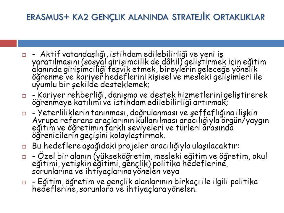 ERASMUS+ KA2 GENÇLIK ALANINDA STRATEJ İ K ORTAKLIKLAR  - Aktif vatandaşlığı, istihdam edilebilirliği ve yeni iş yaratılmasını (sosyal girişimcilik de