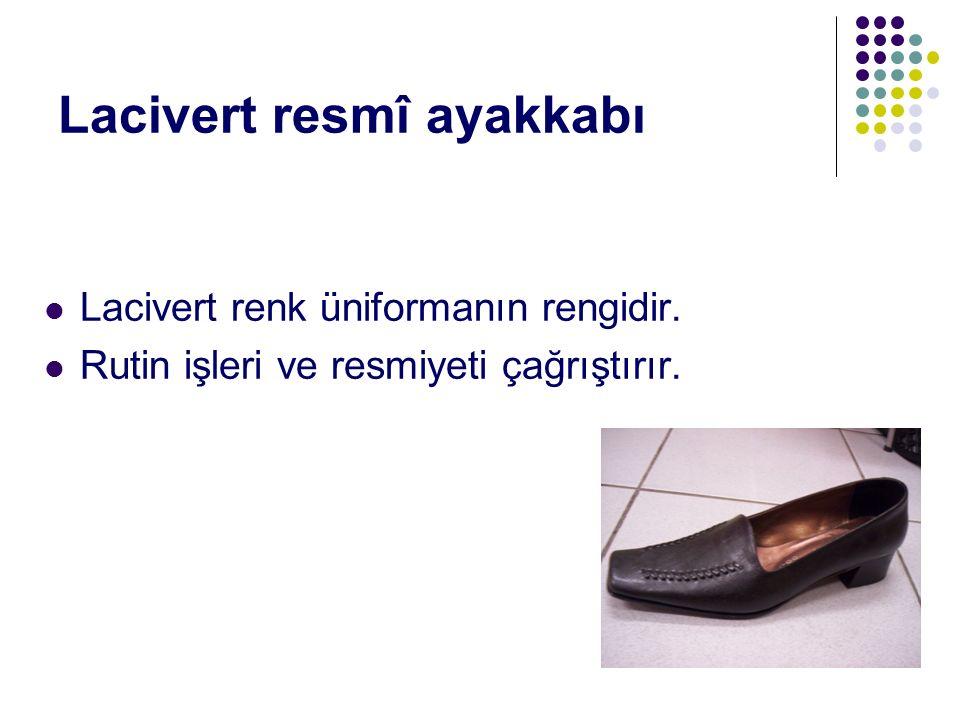 Lacivert resmî ayakkabı Lacivert renk üniformanın rengidir. Rutin işleri ve resmiyeti çağrıştırır.