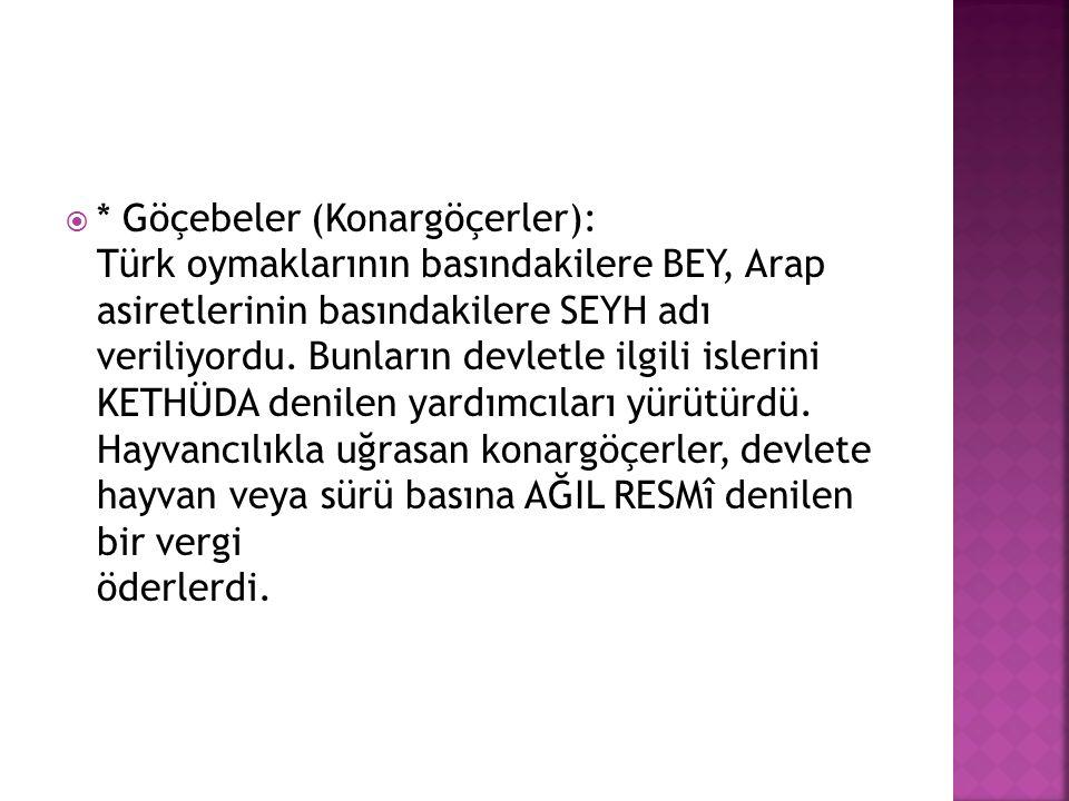  * Göçebeler (Konargöçerler): Türk oymaklarının basındakilere BEY, Arap asiretlerinin basındakilere SEYH adı veriliyordu. Bunların devletle ilgili is