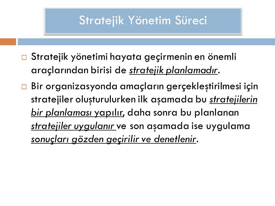  Stratejik yönetimi hayata geçirmenin en önemli araçlarından birisi de stratejik planlamadır.  Bir organizasyonda amaçların gerçekleştirilmesi için
