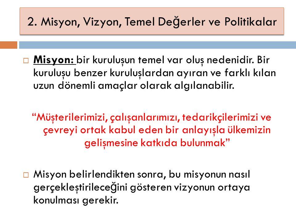 2. Misyon, Vizyon, Temel De ğ erler ve Politikalar  Misyon: bir kuruluşun temel var oluş nedenidir. Bir kuruluşu benzer kuruluşlardan ayıran ve farkl