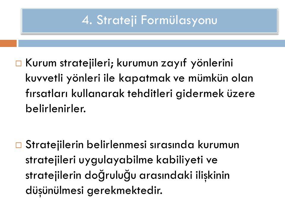 Stratejik Formülasyonu  Kurum stratejileri; kurumun zayıf yönlerini kuvvetli yönleri ile kapatmak ve mümkün olan fırsatları kullanarak tehditleri gidermek üzere belirlenirler.