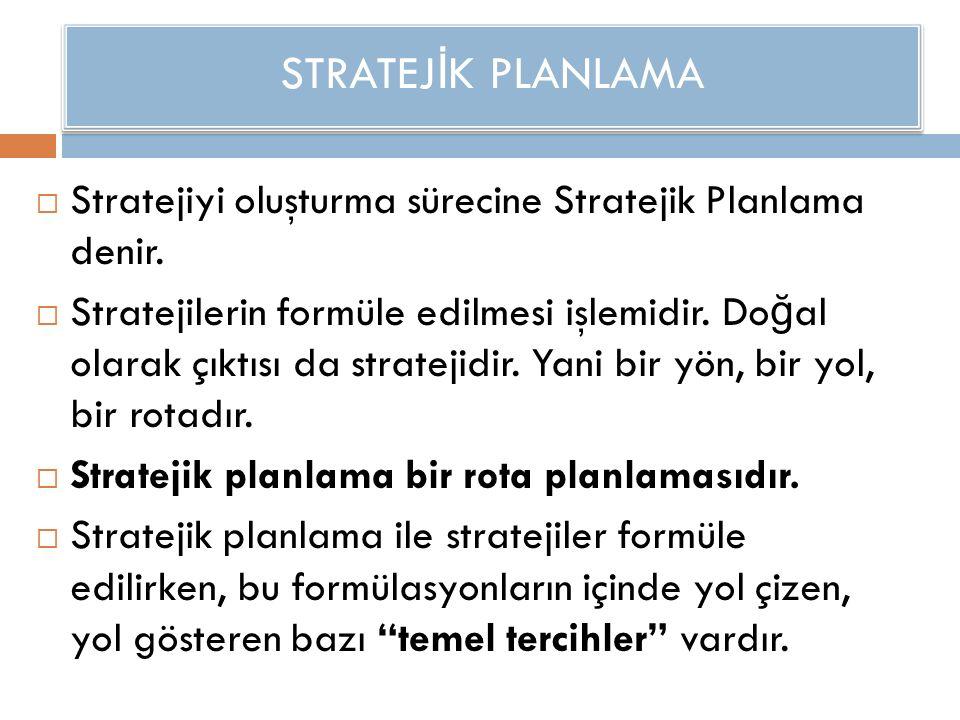 STRATEJ İ K PLANLAMA  Stratejiyi oluşturma sürecine Stratejik Planlama denir.  Stratejilerin formüle edilmesi işlemidir. Do ğ al olarak çıktısı da s