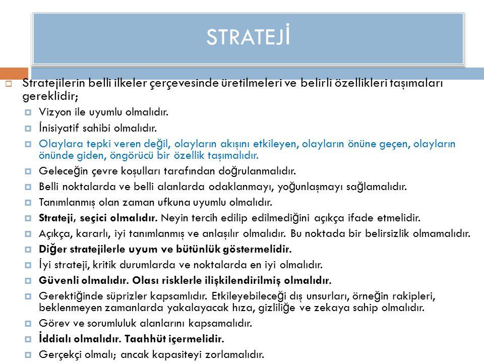 STRATEJ İ  Stratejilerin belli ilkeler çerçevesinde üretilmeleri ve belirli özellikleri taşımaları gereklidir;  Vizyon ile uyumlu olmalıdır.