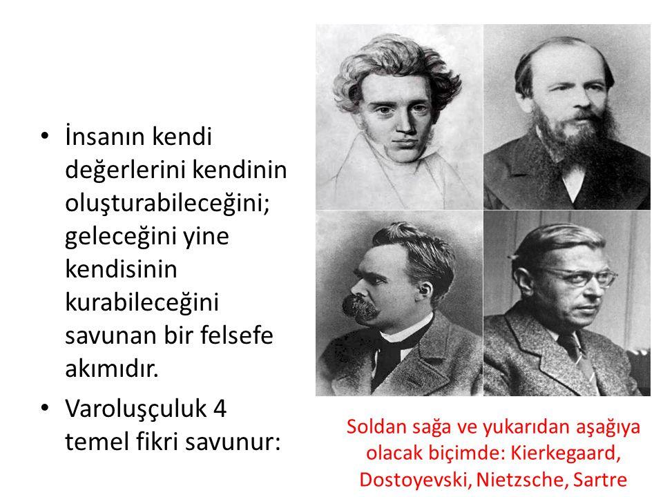 Soldan sağa ve yukarıdan aşağıya olacak biçimde: Kierkegaard, Dostoyevski, Nietzsche, Sartre İnsanın kendi değerlerini kendinin oluşturabileceğini; geleceğini yine kendisinin kurabileceğini savunan bir felsefe akımıdır.