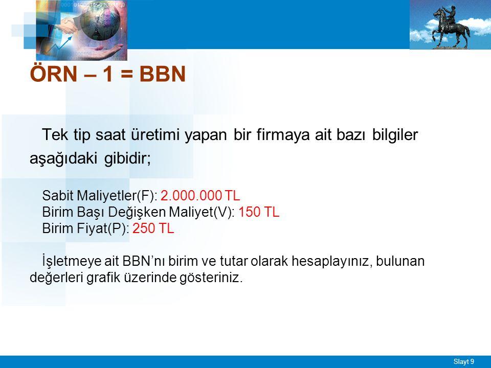 Slayt 9 ÖRN – 1 = BBN Tek tip saat üretimi yapan bir firmaya ait bazı bilgiler aşağıdaki gibidir; Sabit Maliyetler(F): 2.000.000 TL Birim Başı Değişken Maliyet(V): 150 TL Birim Fiyat(P): 250 TL İşletmeye ait BBN'nı birim ve tutar olarak hesaplayınız, bulunan değerleri grafik üzerinde gösteriniz.