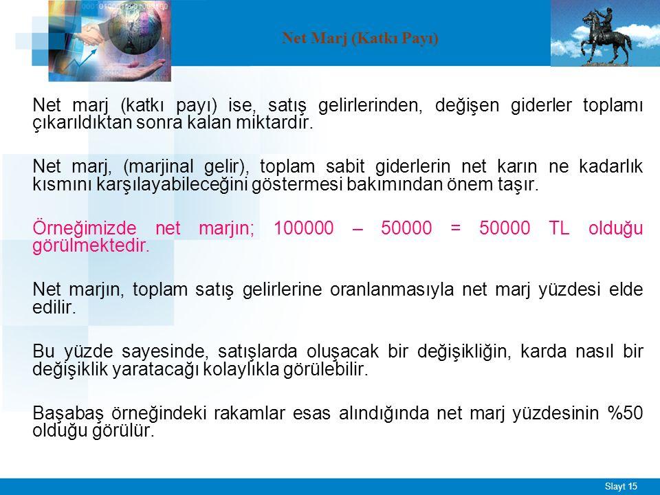 Slayt 15 Net marj (katkı payı) ise, satış gelirlerinden, değişen giderler toplamı çıkarıldıktan sonra kalan miktardır.