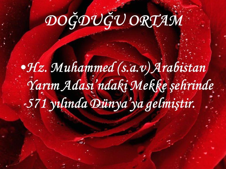 www.hazirslayt.com Hz. Muhammed (s.a.v) Arabistan Yarım Adası'ndaki Mekke şehrinde 571 yılında Dünya'ya gelmiştir. DOĞDUĞU ORTAM