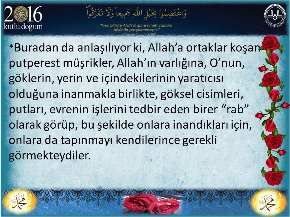 * Buradan da anlaşılıyor ki, Allah'a ortaklar koşan putperest müşrikler, Allah'ın varlığına, O'nun, göklerin, yerin ve içindekilerinin yaratıcısı oldu