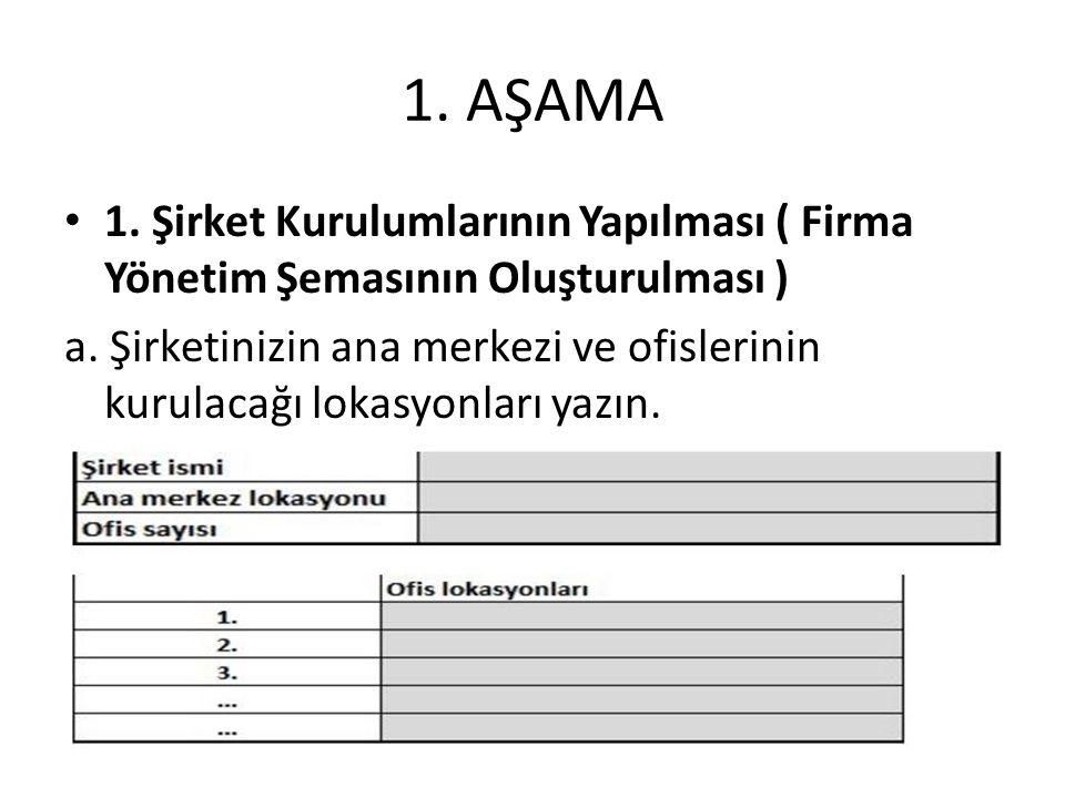 1.AŞAMA 1. Şirket Kurulumlarının Yapılması ( Firma Yönetim Şemasının Oluşturulması ) a.