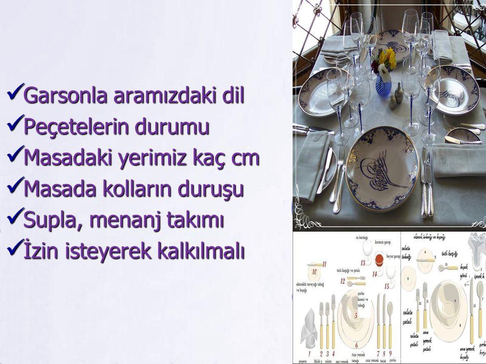 Garsonla aramızdaki dil Garsonla aramızdaki dil Peçetelerin durumu Peçetelerin durumu Masadaki yerimiz kaç cm Masadaki yerimiz kaç cm Masada kolların