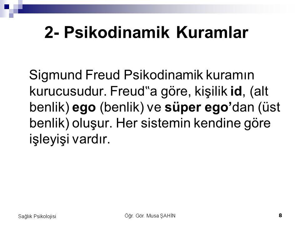 """Öğr. Gör. Musa ŞAHİN 8 Sağlık Psikolojisi 2- Psikodinamik Kuramlar Sigmund Freud Psikodinamik kuramın kurucusudur. Freud """" a göre, kişilik id, (alt be"""
