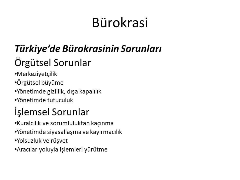 Bürokrasi Türkiye'de Bürokrasinin Sorunları Örgütsel Sorunlar Merkeziyetçilik Örgütsel büyüme Yönetimde gizlilik, dışa kapalılık Yönetimde tutuculuk İ