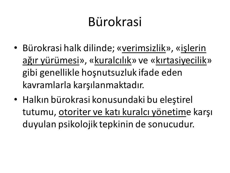 Bürokrasi Türkiye'de Bürokrasinin Sorunları Örgütsel Sorunlar Merkeziyetçilik Örgütsel büyüme Yönetimde gizlilik, dışa kapalılık Yönetimde tutuculuk İşlemsel Sorunlar Kuralcılık ve sorumluluktan kaçınma Yönetimde siyasallaşma ve kayırmacılık Yolsuzluk ve rüşvet Aracılar yoluyla işlemleri yürütme