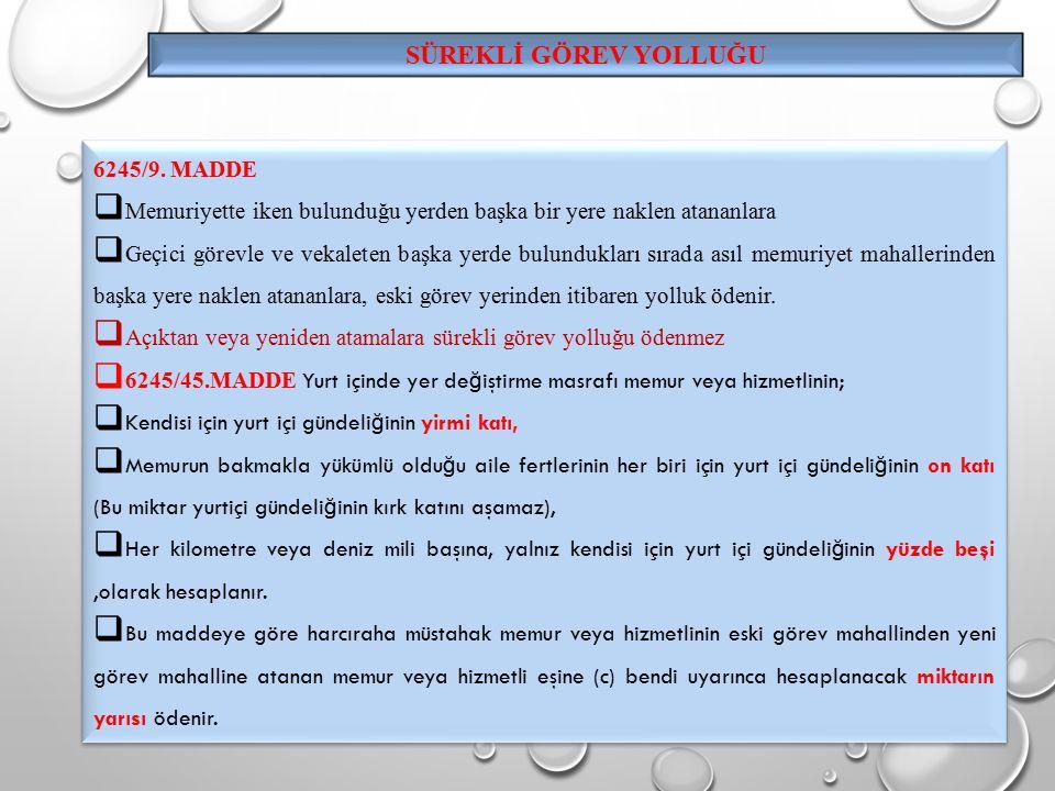 SÜREKLİ GÖREV YOLLUĞU 6245/9.