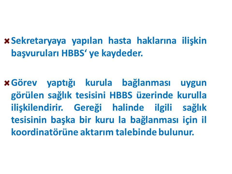 Sekretaryaya yapılan hasta haklarına ilişkin başvuruları HBBS' ye kaydeder. Görev yaptığı kurula bağlanması uygun görülen sağlık tesisini HBBS üzerind