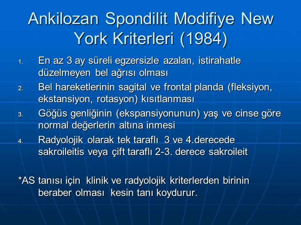 Ankilozan Spondilit Modifiye New York Kriterleri (1984) 1.