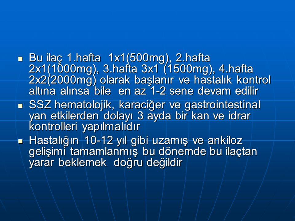 Bu ilaç 1.hafta 1x1(500mg), 2.hafta 2x1(1000mg), 3.hafta 3x1 (1500mg), 4.hafta 2x2(2000mg) olarak başlanır ve hastalık kontrol altına alınsa bile en az 1-2 sene devam edilir Bu ilaç 1.hafta 1x1(500mg), 2.hafta 2x1(1000mg), 3.hafta 3x1 (1500mg), 4.hafta 2x2(2000mg) olarak başlanır ve hastalık kontrol altına alınsa bile en az 1-2 sene devam edilir SSZ hematolojik, karaciğer ve gastrointestinal yan etkilerden dolayı 3 ayda bir kan ve idrar kontrolleri yapılmalıdır SSZ hematolojik, karaciğer ve gastrointestinal yan etkilerden dolayı 3 ayda bir kan ve idrar kontrolleri yapılmalıdır Hastalığın 10-12 yıl gibi uzamış ve ankiloz gelişimi tamamlanmış bu dönemde bu ilaçtan yarar beklemek doğru değildir Hastalığın 10-12 yıl gibi uzamış ve ankiloz gelişimi tamamlanmış bu dönemde bu ilaçtan yarar beklemek doğru değildir