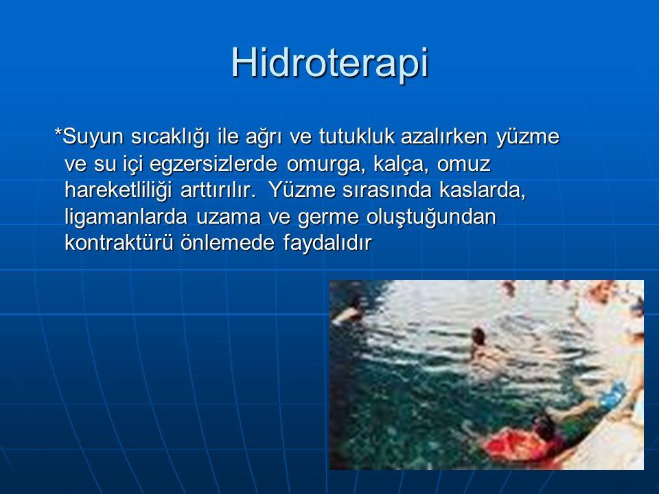Hidroterapi *Suyun sıcaklığı ile ağrı ve tutukluk azalırken yüzme ve su içi egzersizlerde omurga, kalça, omuz hareketliliği arttırılır.