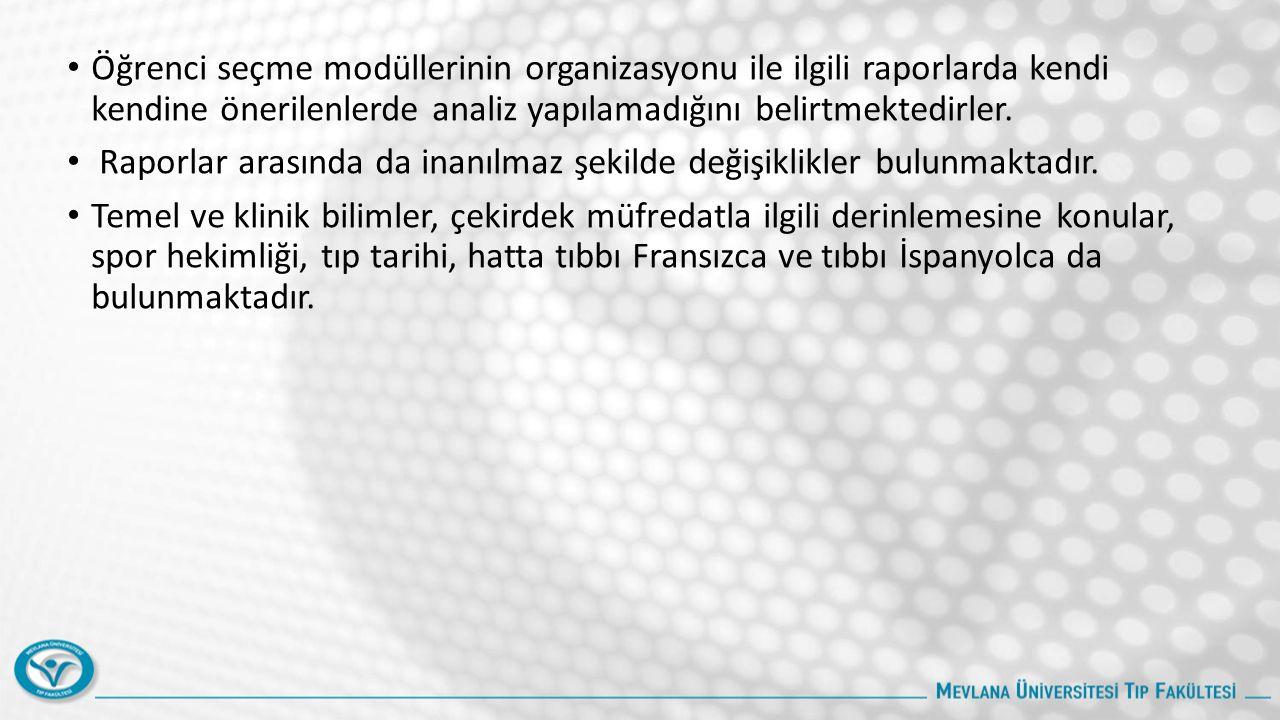 Öğrenci seçme modüllerinin organizasyonu ile ilgili raporlarda kendi kendine önerilenlerde analiz yapılamadığını belirtmektedirler. Raporlar arasında