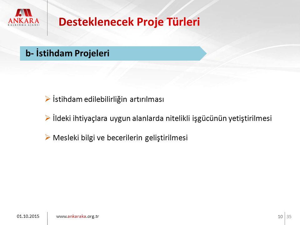 35 www.ankaraka.org.tr 10 01.10.2015 b- İstihdam Projeleri  İstihdam edilebilirliğin artırılması  İldeki ihtiyaçlara uygun alanlarda nitelikli işgüc